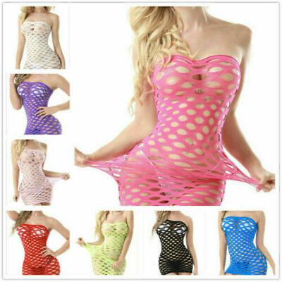 Women Sexy Lace Lingerie Sleepwear G-string Fishnet Dress Babydoll Nightwear