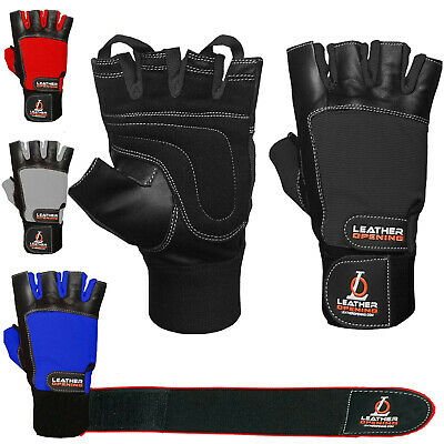 Leather Weight Lifting Gym Gloves Gel Body Building Straps Training Fitness men
