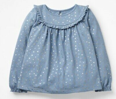Girls Mini Boden Ruffle Smock Top Blue With Gold Star Print 3 - 10 Years