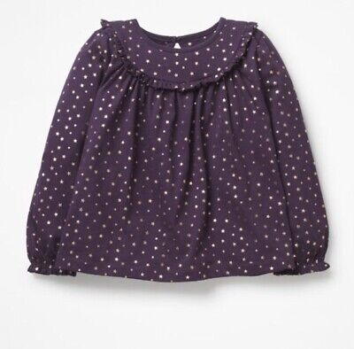 Girls Mini Boden Ruffle Smock Top Purple with Gold Star Print Ages 5 - 12 Years