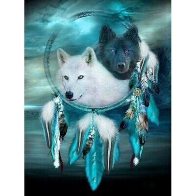 Full Drill DIY 5D Diamond Painting Kits Embroidery Decor Wolf Dream Catcher AU