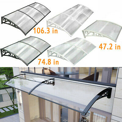 Door Canopy Awning Shelter Front Back Door Awning Polycarbonate Shield 3 Sizes