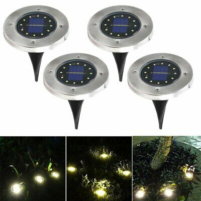 4stk 4LED Solar Powered Buried Licht unter Boden Lampe Outdoor Garten Rasen IP65