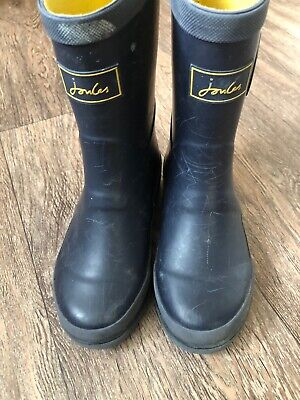 Joules Blue Childs Wellington Boots   Size Uk 11 Navy Yellow