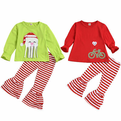 Toddler Baby Girls Striped Ruffle T-Shirt Tops+Leggings Pants Christmas Clothes