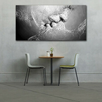 Abstract Black&White Love Kiss Wall Painting Picture Bedroom Living Room Decors