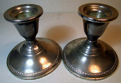 Sterling Silver Candle Stick PAIR Candleholders Antique Matching Set Reinforced