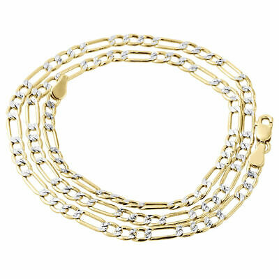 10k Yellow Gold Figaro Figro Pave Necklace Chain 3.5 mm 18'' 18 inch Mens Womens