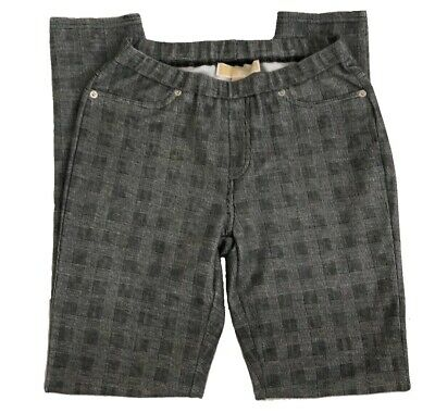 Michael Kors Black White Plaid Skinny Tapered Ankle  Casual Pants Small