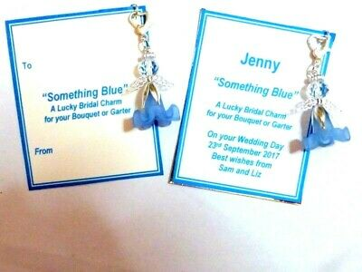 Something Blue Guardian Angel Traditional Bridal Clip-on Charm Personalised Card
