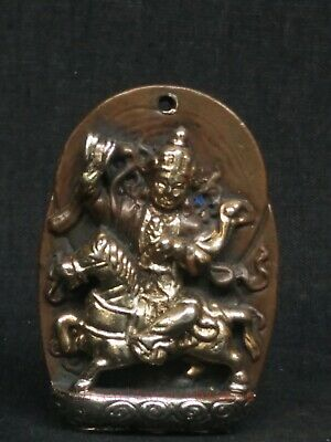 Collect Old China Tibet Bronze Carving Gilded Riding Horse Buddha Statue Pendant