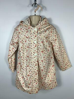 Girls Lisa Rose White Flower Pattern Casual Rain Coat With Hood Kids Age 8 Years