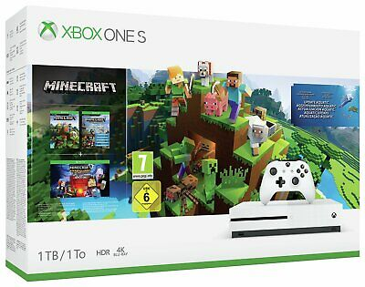 Microsoft Xbox One S 1TB Console White with Minecraft Collection Bundle