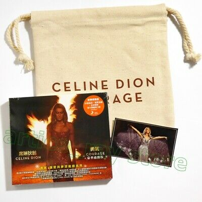 Celine Dion Courage Taiwan CD Bonus 4 Track Pouch Bag Poster Sticker 2019 NEW
