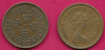 Hong Kong 50 Cents 1980 Xf English Around Central Chinese Legend,Elizabeth Ii,Yo