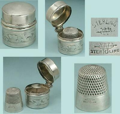 Antique Sterling Silver Chatelaine Case w/ Thimble by Webster Co. * Circa 1890s
