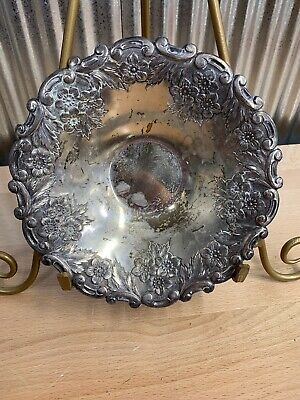 Vintage ~ Silver Plated ~ Pedestal ~ Candy ~ Nut ~ Bowl ~ Dish ~ Embossed