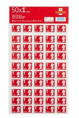 Mint condition Royal Mail First Class Large Letter Sheets 50 stamps