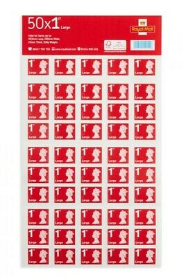 Mint condition Royal Mail First Class Large Letter Sheets 50x2 (100 stamps)