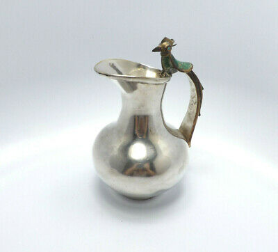 Los Castillo Taxco Mexico Handmade Silverplate Pitcher Malachite Bird Handle 207