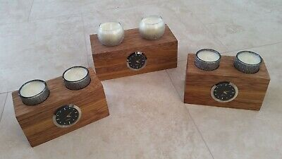 Oak / Sapele Tea Light Candle Clock Quartz Holder Desk / Table / Shelf / Mantle