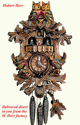 Hubert Herr,  lovely new musical cuckoo clock with 2 top owls & 2 lower birds.