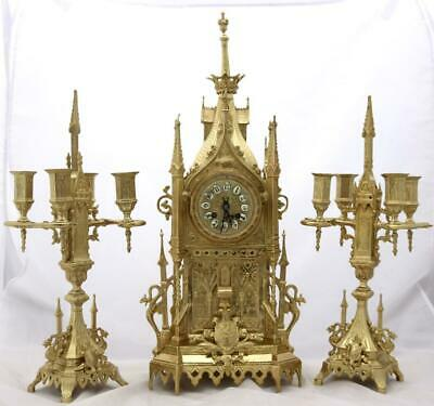 Antique French Mantle Clock Exceptional Gothic Cathedral Garniture Set Striking