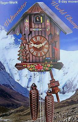 Hubert Herr,  Black Forest  lovely 8 day cuckoo clock with hand painted flowers.