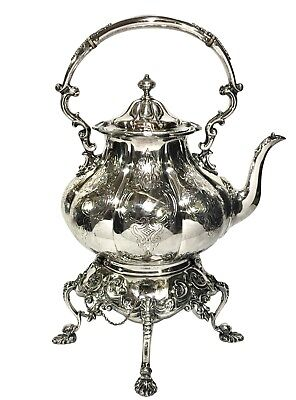 Antique 19th c. REPOUSSE SILVERPLATED TILTING TEAPOT