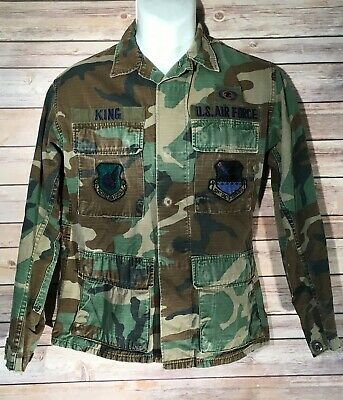 Vintage US AIR FORCE Pacific Air Forces Camo Jacket Coat Small Distressed Worn