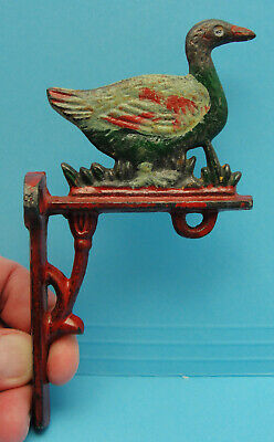 RARE Early Antique Vintage Cast Iron Painted DUCK Door Dinner Farm Bell Bracket