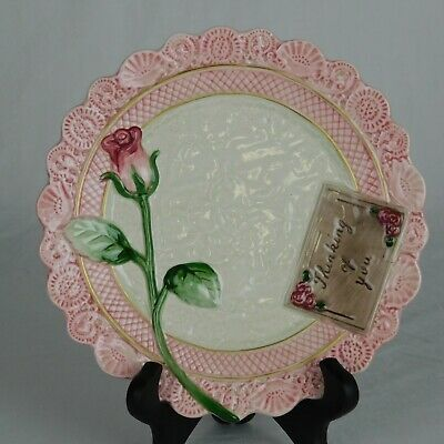 "Fitz & Floyd Vintage Omnibus Victorian ""Thinking of you"" Postcard Pink Rose Lace"