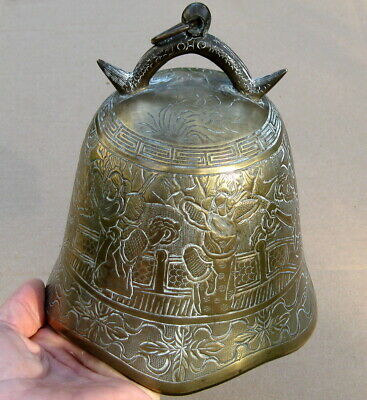 Chinese / Asian Antique Brass And Bronze Bell W/ Hand Engraved Warrior Artwork