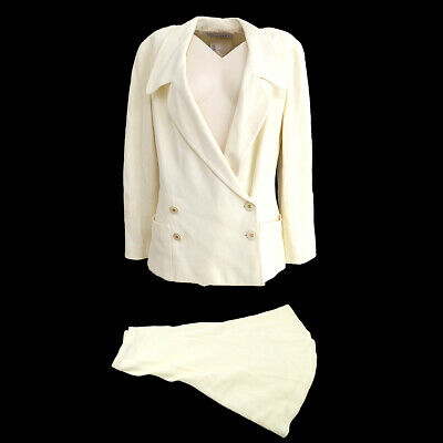 CHANEL 94P #38 Double Breasted Set Up Suit Jacket Skirt White Authentic NR13096