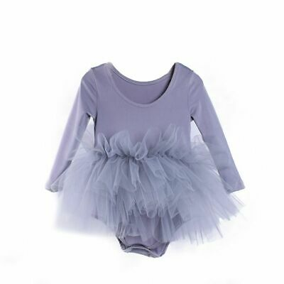 Girls Mesh Ballet Long Sleeve Dance Dress Costumes Kid Gymnastic Dancing Clothes