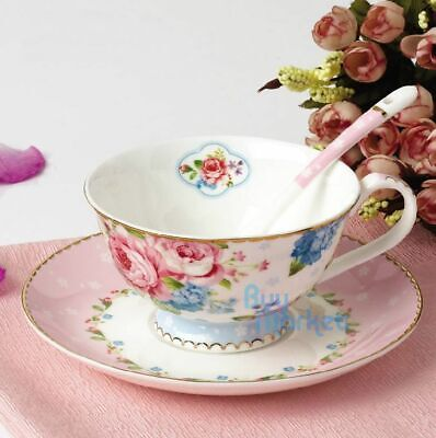 Tea Cup Set CUP/SAUCER/SPOON Coffee PINK blossom flowers NewBone China Porcelain
