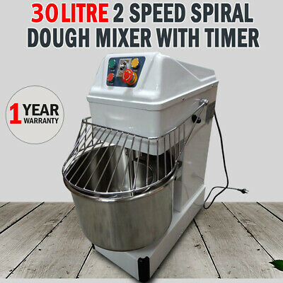 New Commercial 30 Litre 2 Speed Spiral Dough Mixer With Timer Pizza Bakery Bread