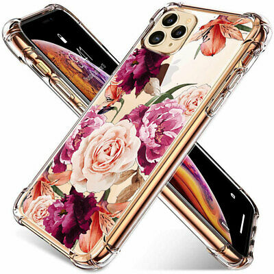 Womens iPhone 11 Pro MAX XR XS Flower Case Shockproof Rubber TPU Silicone Cover