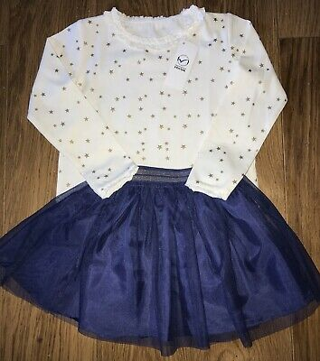 Girls Pretty Party Outfit Cream Gold Star Top & Navy Tulle Skirt Ages 3 - 6