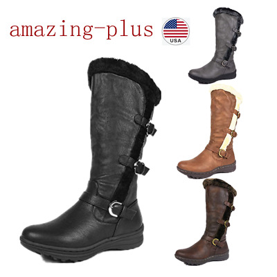 Womens Lady Fully Fur Lined Knee High Low Heel Snow Boots(Wide-Calf) Size 6 - 11