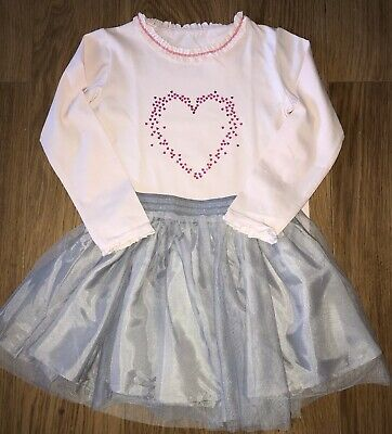 Girls Pretty  Party Outfit Pink Heart Top & Grey Tulle Skirt Ages 5 - 8 Years