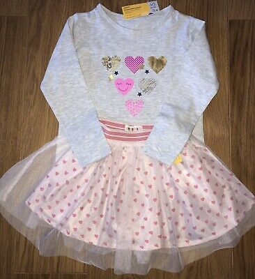 Girls Pretty  Party Outfit Grey Heart Top & Pink Hearts Tulle Skirt Ages 3 - 6