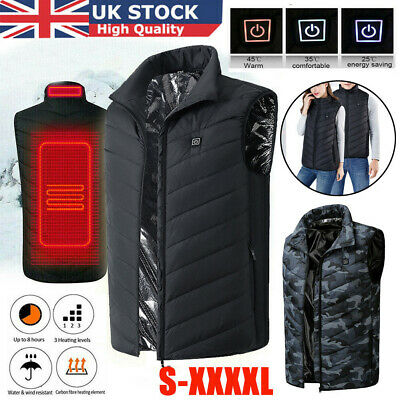 Electric Vest Heated Cloth Jacket Warm Up Heating Pad Body Winter Warmer USB UK