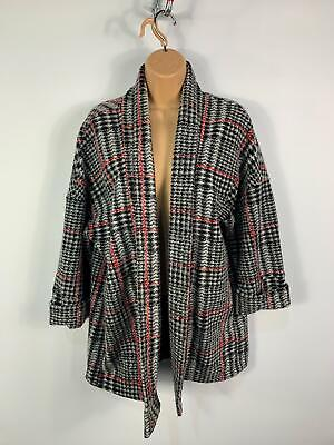 Womens Primark Black/White/Red Pattern Casual Open Front Winter Jacket Size S