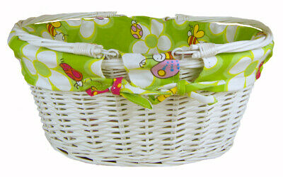 White Wicker Shopping Basket Folding Handles & GREEN BEES Lining- 41x33x18cm