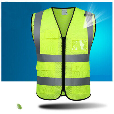 High Visibility Mesh Safety Reflective Vest Tape Work Waistcoat Security Jacket