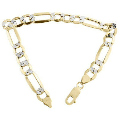 10k Yellow Gold Figaro Figro Pave Bracelet Chain 9.0 mm 8''  8 inch Mens Womens