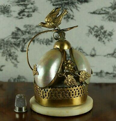 Stunning 19th Century French Palais Royal Desk Bell Gilt Mother of Pearl Bird