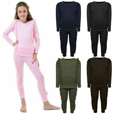 Girls Children Duel Ruffle Frill PE Tracksuit Top Jogger Pants Co Ord Loungewear