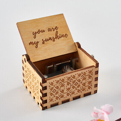 """Retro Wooden Music Box Antique Hand Crank Engraved """"You are my sunshine""""Toys Kid"""